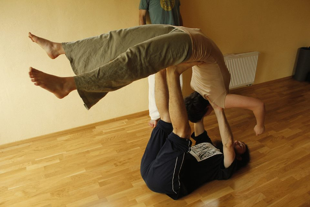 Helena Machova being lifted in contact improvisation